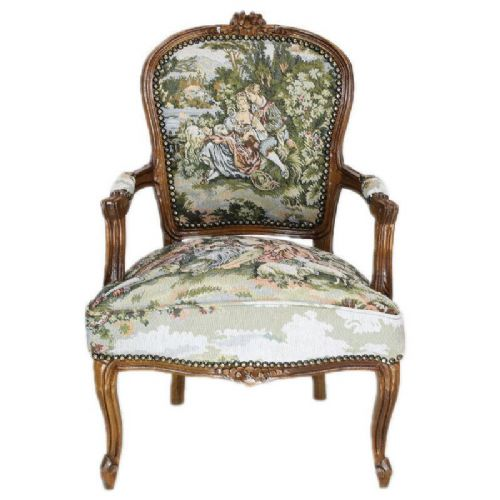 CHAIRS FRANCE BAROQUE STYLE LADY CHAIR WITH ARMRESTS MAHOGANY / GOBELIN #55F3